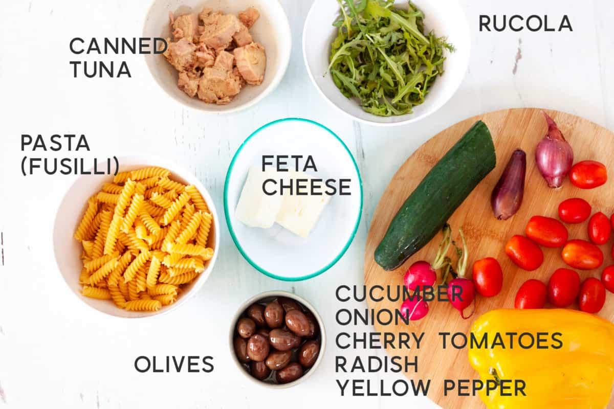 ingredients for Mediterranean-Style Tuna Pasta Salad