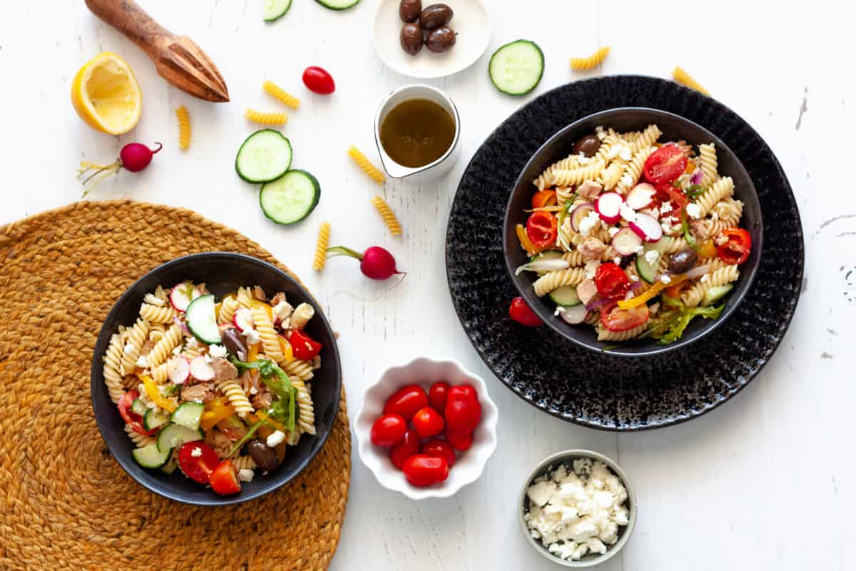 two servings of Mediterranean-Style Tuna Pasta Salad