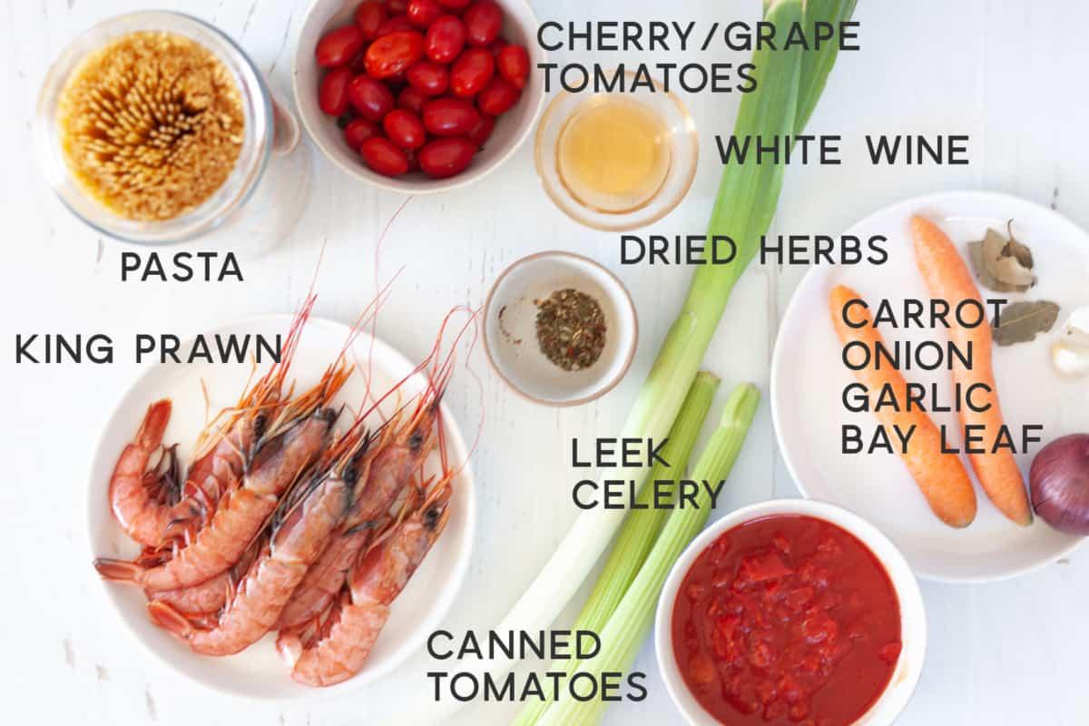 ingredients for Prawn Bisque Pasta