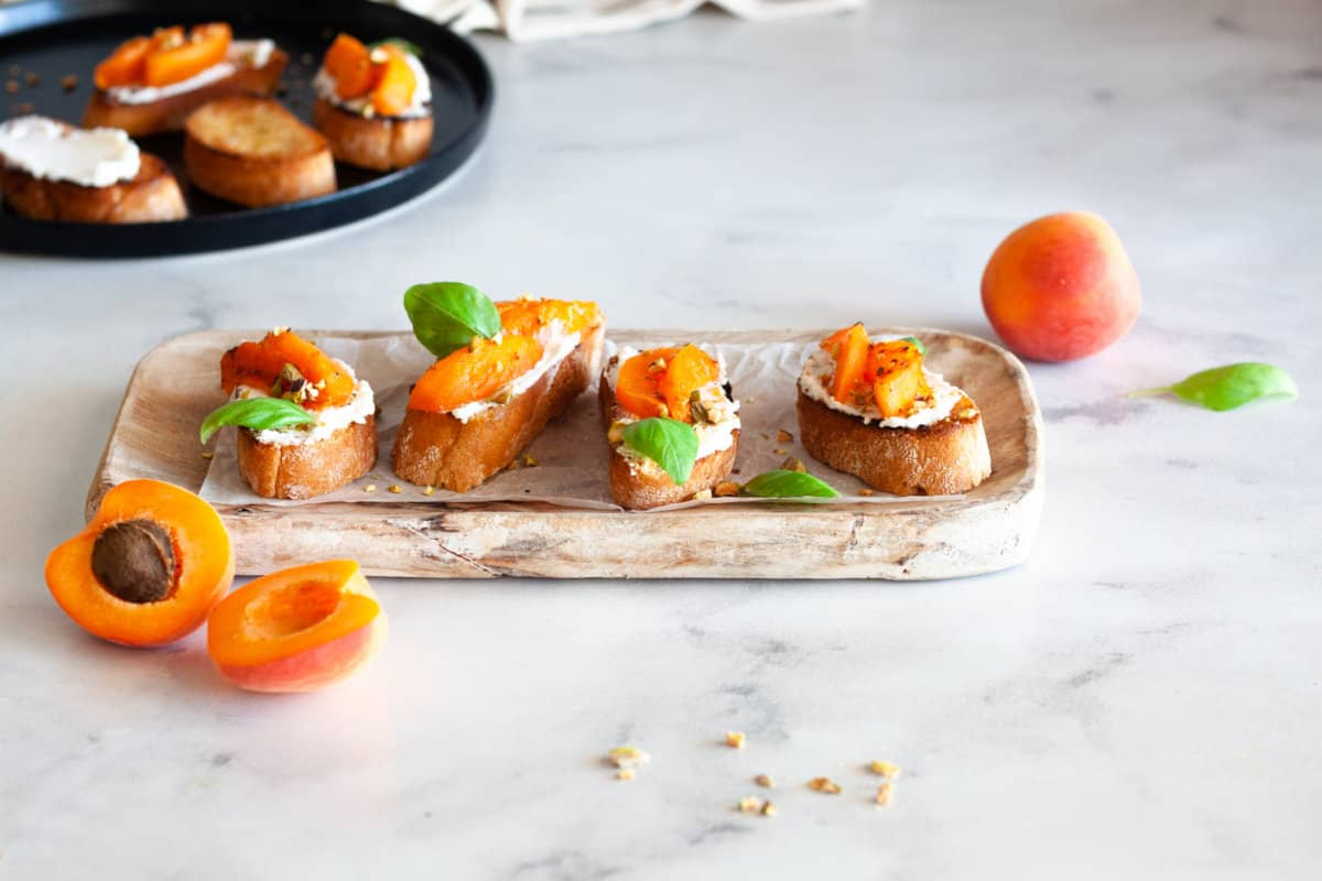 four servings of Whipped Ricotta Apricot Crostini