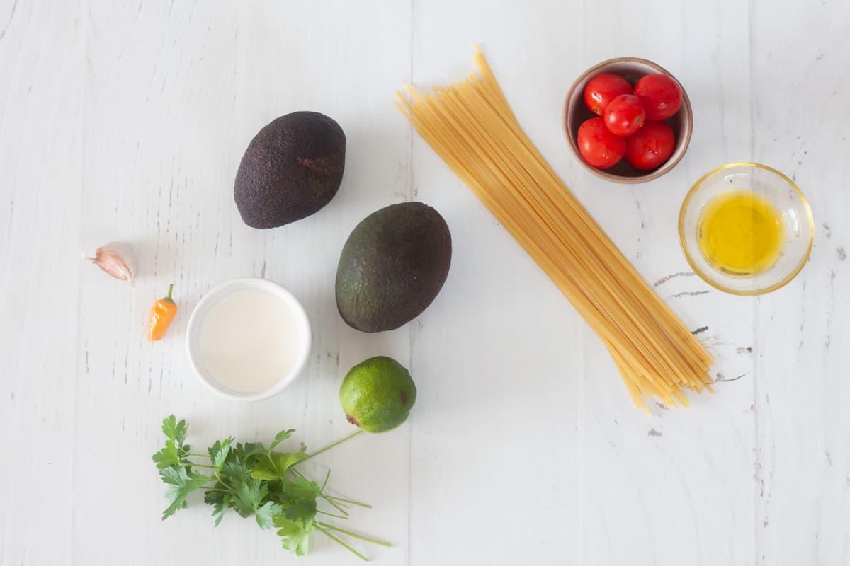 ingredients for avocado cream sauce pasta