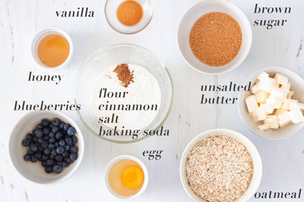ingredients for oatmeal cookies with blueberries