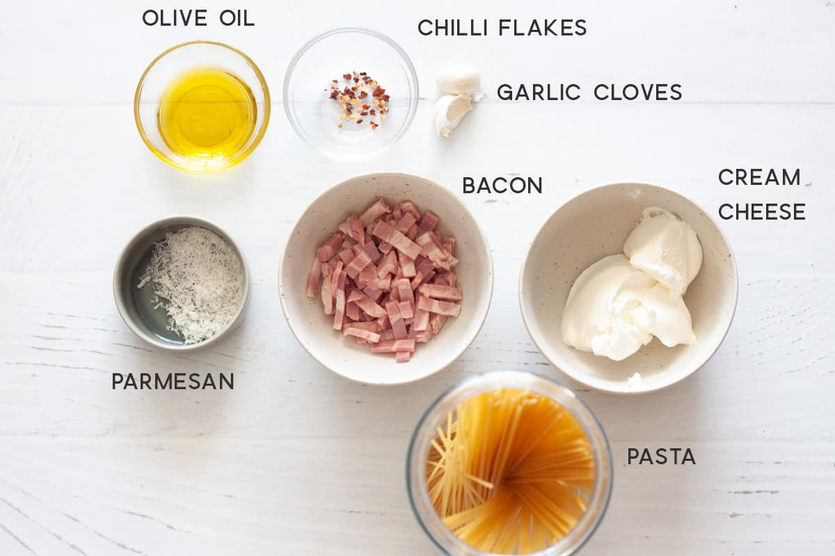 ingredients for cream cheese pasta