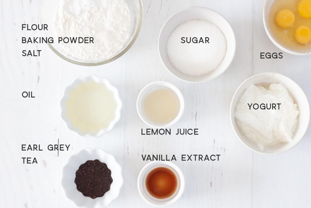 ingredients for earl grey yogurt cake