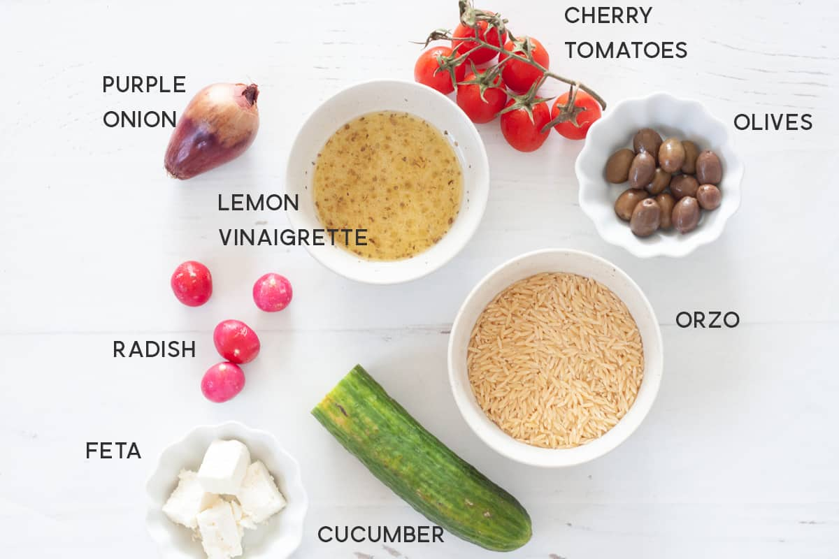 ingredient for lemon orzo salad