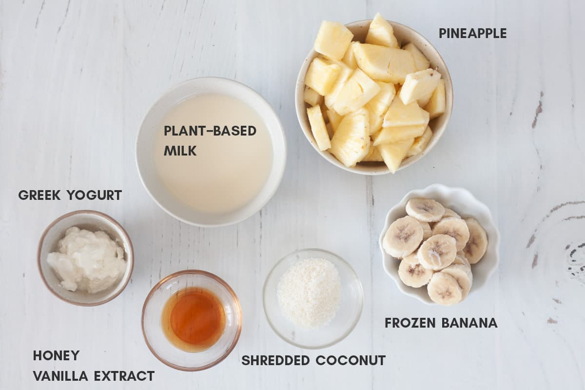 ingredients for pineapple banana smoothie