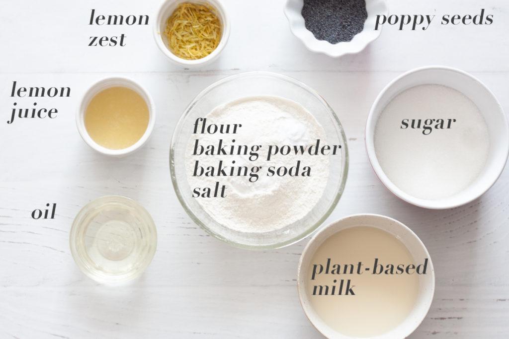 ingredients for vegan lemon poppyseed muffins