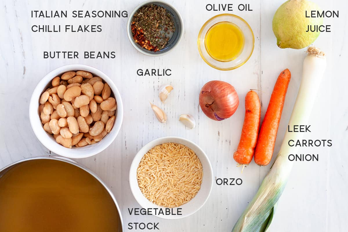 ingredients for Vegan Orzo Soup