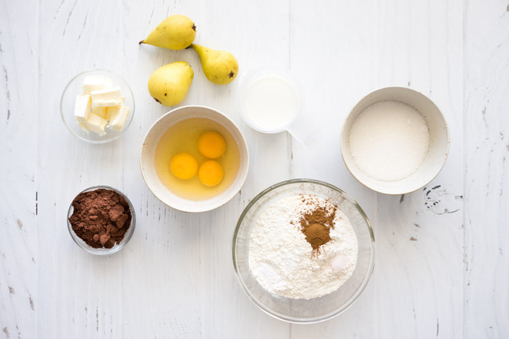 ingredients for pear and chocolate cake