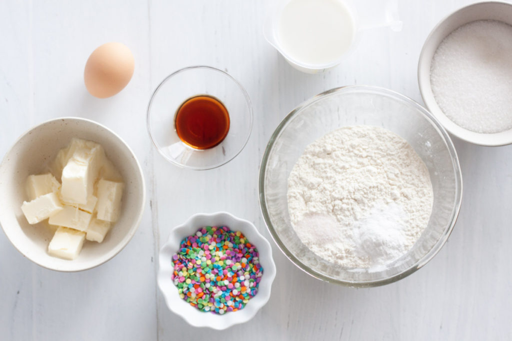 ingredients for funfetti cupcakes