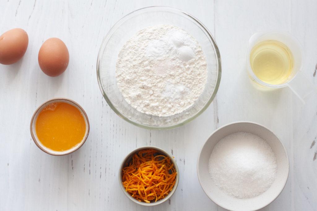 ingredients for orange loaf cake