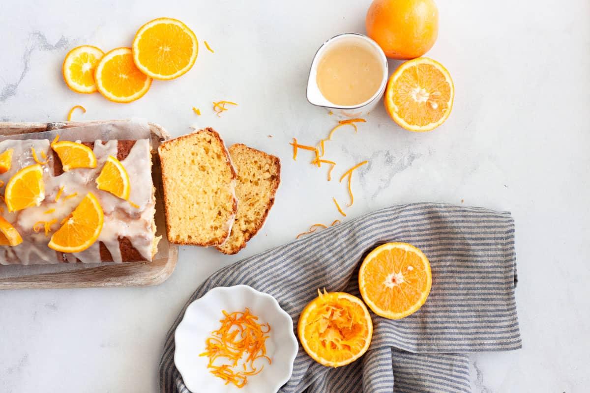 two slices of orange pound cake